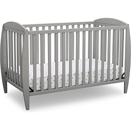 Delta Children Twinkle 4-in-1 Convertible Baby Crib, Easy to Assemble, Sustainable New Zealand Wood, Grey