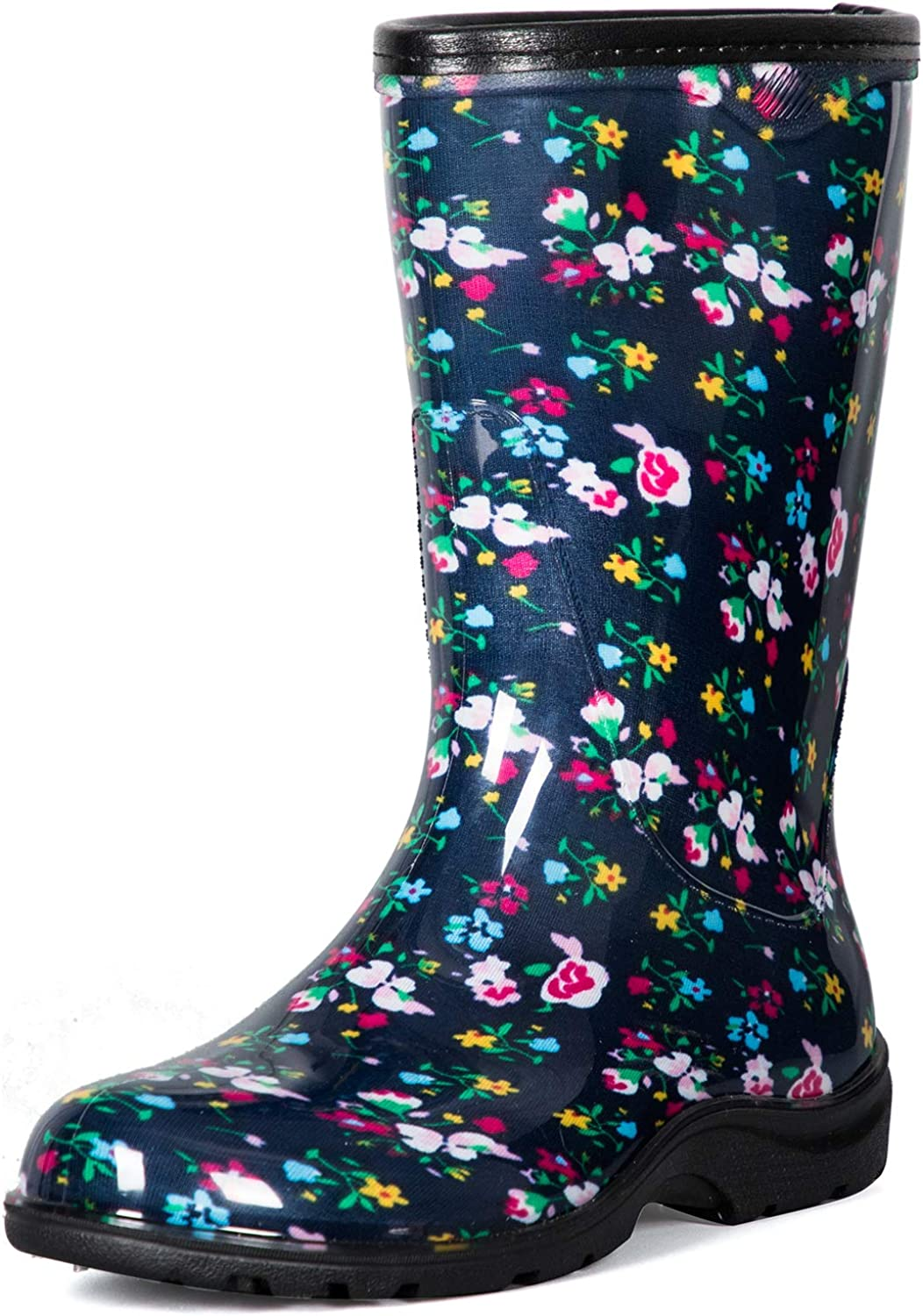 K KomForme Women's Waterproof Rain Boots - Colorful Printed Mid-Calf Garden Shoes with Comfort Insole Ladies Short Rain Boots