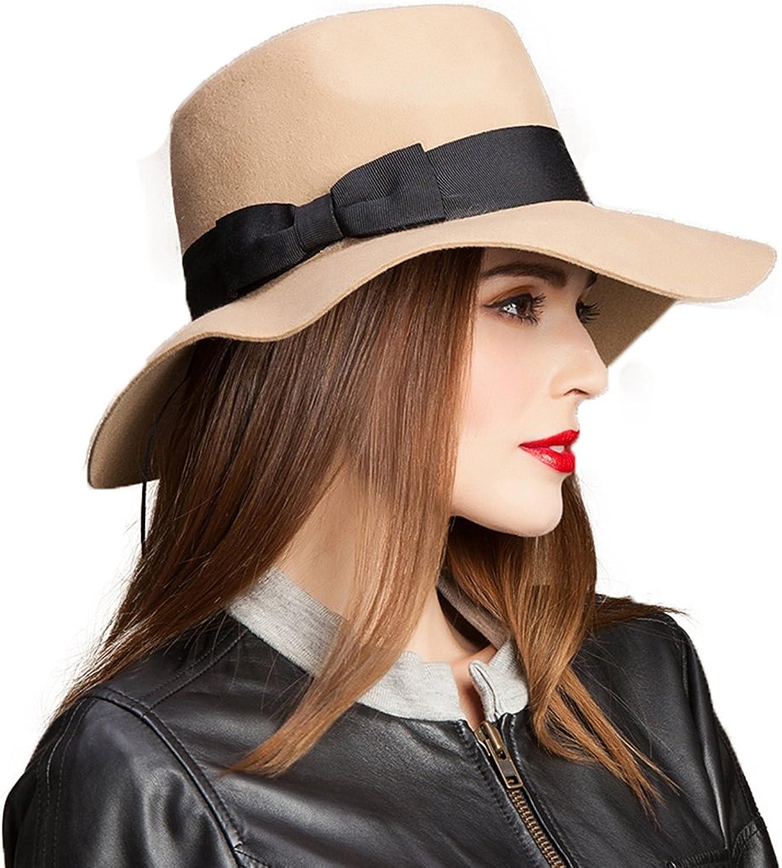 AOBRITON Vintage 100% Australian Wool Large Brim Panama Fedora Jazz Hat Sombrero Chapeau Khaki