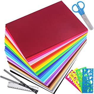 """Winlyn 48 Pcs Foam Sheet 24 Assorted Rainbow Bright Colors Craft Foam Sheets EVA 9x12"""" 2mm Thick with Stencils Pencils Ruler Scissor for Kids Classroom Party Scrapbooks Collages Artwork Projects"""