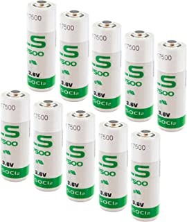 10x SAFT LS17500 Size A 3.6V 3600mAh Lithium Battery for Emergency Backup, Data Collection, AMR Add-ons, Smoke Alarms, Carbon Monoxide Detectors, Intrusion Sensors, Fleet Monitoring