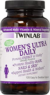 Twinlab Women's Ultra Daily Multivitamin   120 Capsules   Dietary Supplement Supports Energy Production and Promotes Healthy Hair, Nails and Skin