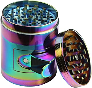 DCOU New Design rainbow Grinder 2.2 Inches 4 Piece Grinder with Pollen Catcher Durable Zinc Alloy Spice Heavy Duty Grinder with scrapper and Easy Access Window (Rainbow)