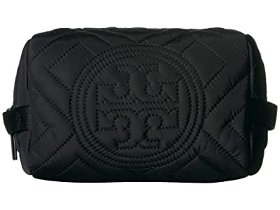 Tory Burch Fleming Quilted Nylon Cosmetic Case (Black) Cosmetic Case