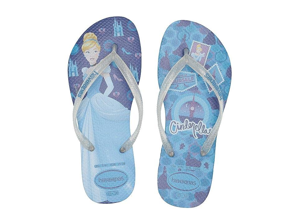 Havaianas Kids Slim Princess Flip Flops (Toddler/Little Kid/Big Kid) (Blue Star) Girls Shoes