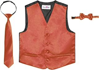 OLIVIA KOO 3 Piece Baby and Big Boys' Formal Suit Vest Set with Bowtie and Tie (Size 3T to 16)