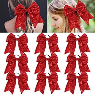 red sequin hair bow