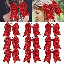 Large Glitter Cheer Bows Red Ponytail Holder Girls Elastic Hair Ties 6