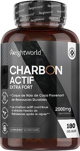 Charbon Actif Végétal 2000 mg 180 Gélules Vegan, Gaz et Ballonnement (EFSA), Testé en Laboratoire par Agrolab 100% Na...