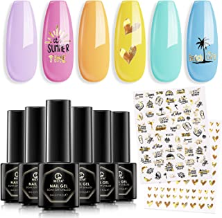MEFA Gel Nail Polish Set - Summer Nail Polish Nude Pink Gel Nail Varnish Set 6 Colors 5ml Nail Art Design Manicure Set Soak Off LED Gel Nail Kit Manicure DIY Home