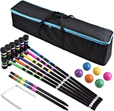 DealKits [6 Players] Croquet Set for Families with Carrying Bag for Yard Outdoor Lawn Backyard Games for Kids Adults All A...