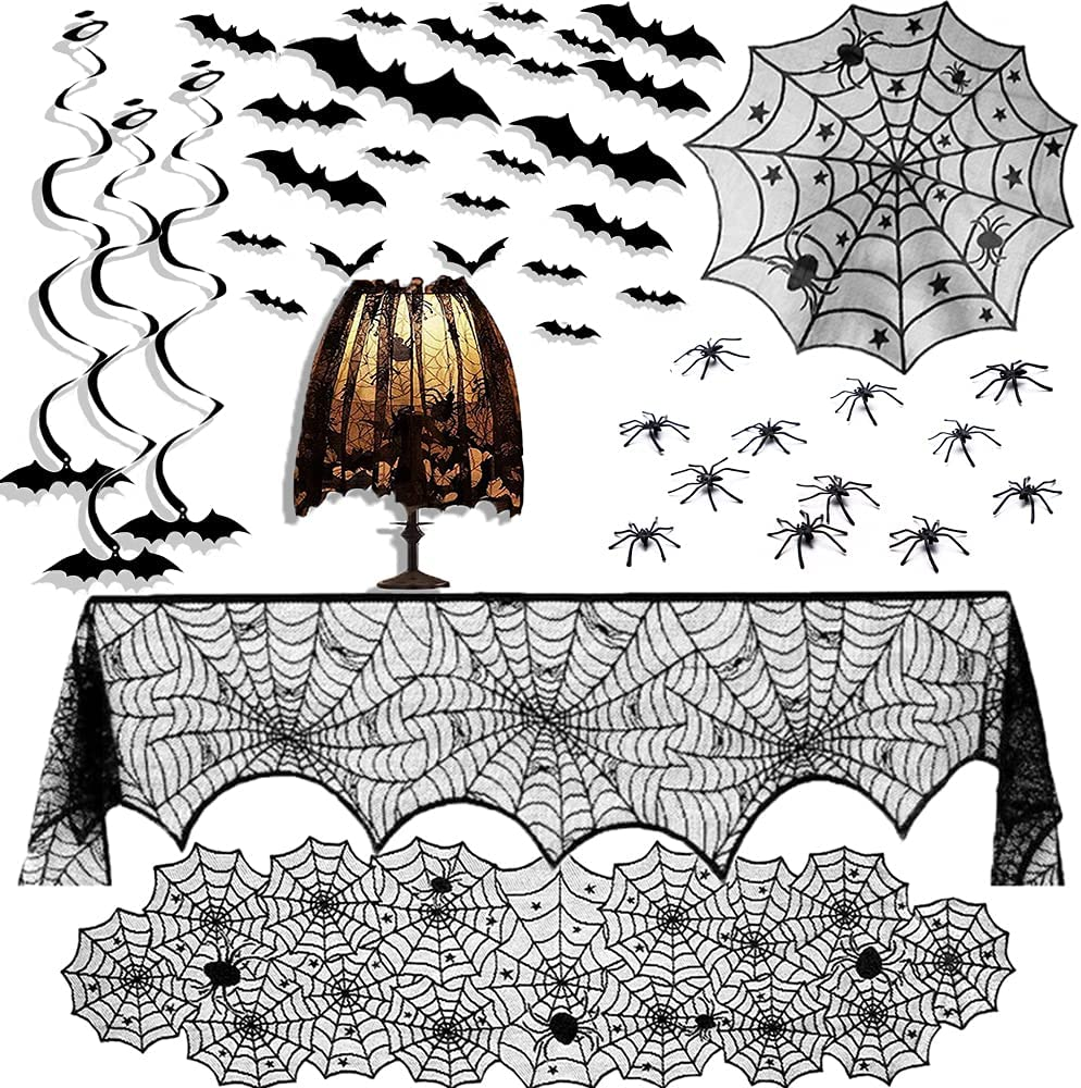 ShiRui Halloween Decorations Indoor Set, 42pcs Halloween Decor for Home Black Lace Tablecloth Cobweb Runner Fireplace Scarf Round Table Cover Spider Web Lampshade 3D Bats Spiders Halloween Decor