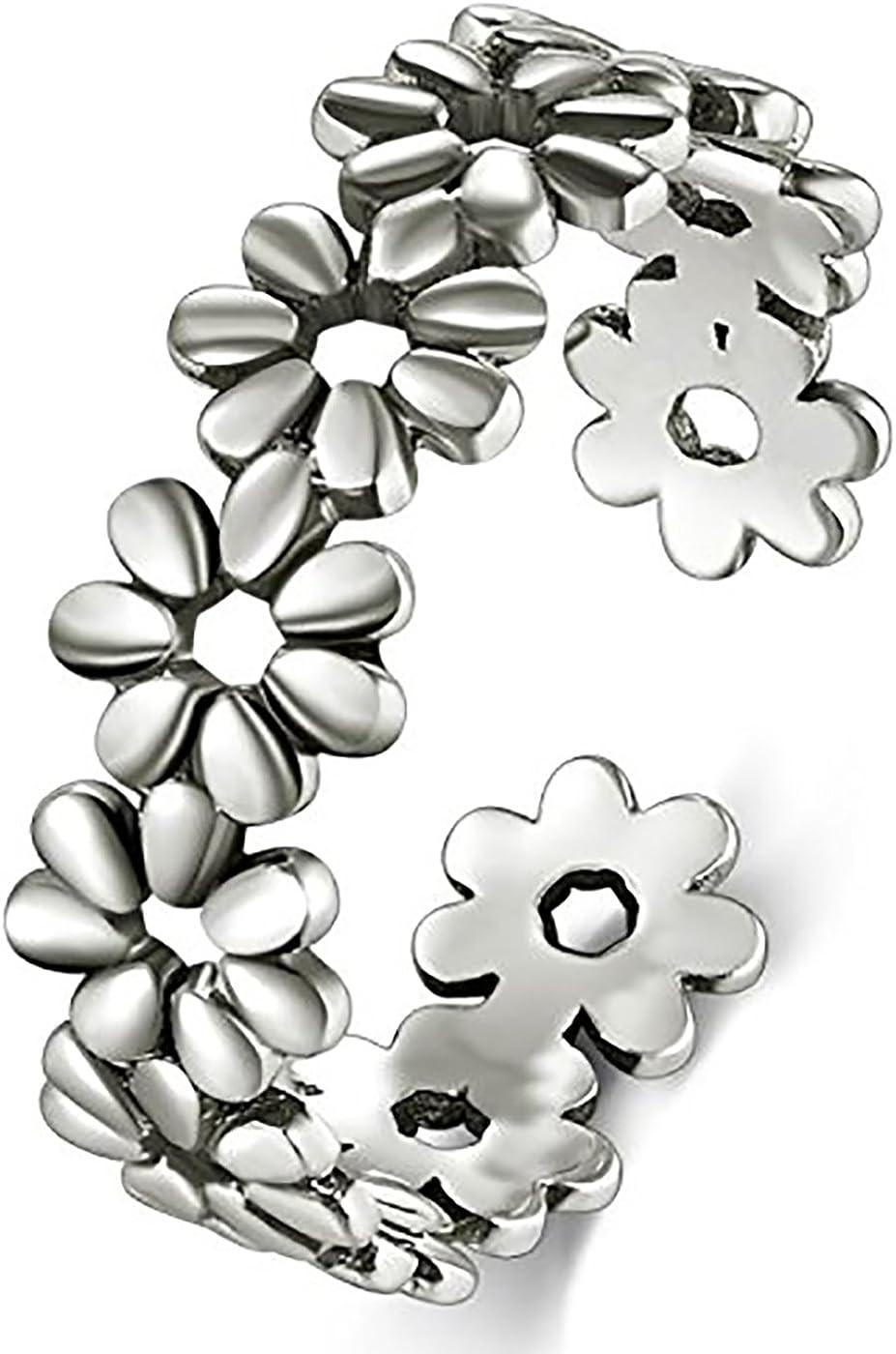BORUO 925 Sterling Silver Toe Flower mart Adjust Financial sales sale Hawaiian Daisy Ring