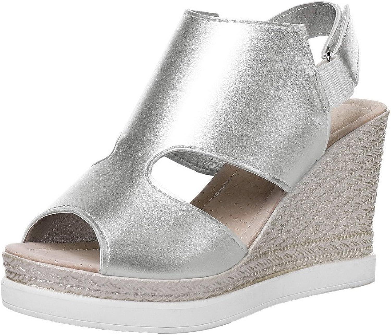 WeenFashion Women's Solid Pu High-Heels Hook-and-Loop Peep-Toe Sandals