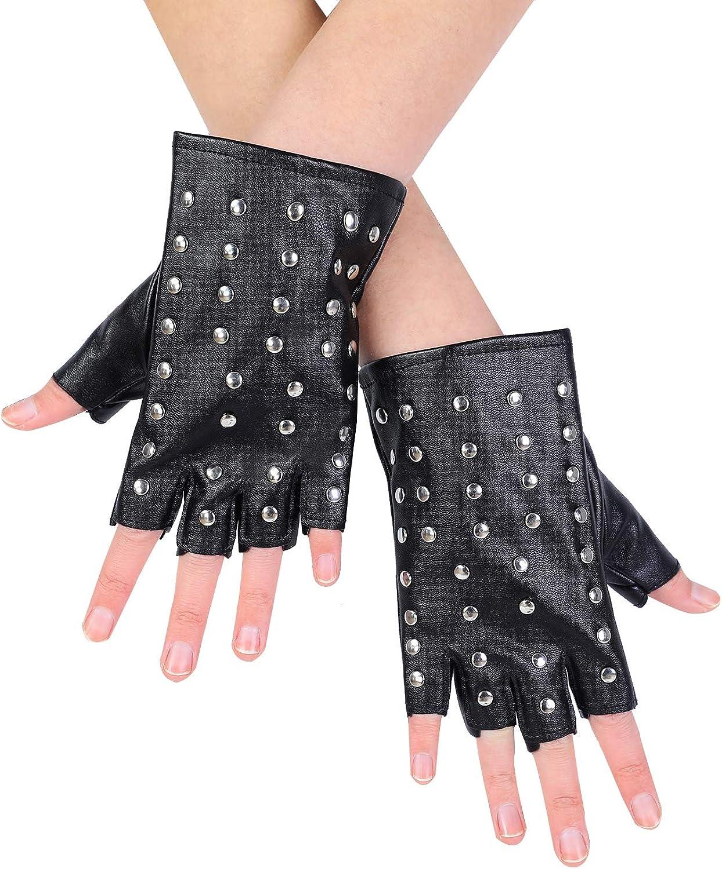 JISEN Women PU Leather Punk Gloves Rivets Belt Up or Snap Half Finger Performance Mittens