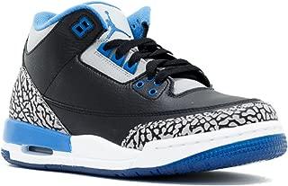 Jordan Air 3 Retro BG Big Kids Shoes Black/Sport Blue-Wolf Grey 398614-007 (4 M US)