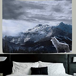 WellLee Wolf wall decor Lone Wolf Fabric Tapestry Throw Dorm bedroom Art Home Decor Tapestry Wall Hanging 60x40 Inch