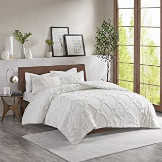 Madison Park Pacey 3 Piece Tufted Cotton Chenille Geometric Duvet Cover Set, King/Cal King, White