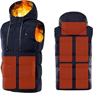Heated Vest for Men and Women, Whycat USB Charging Vest Hooded Zipper Body Warmer Jacket with Pockets Heating Clothes