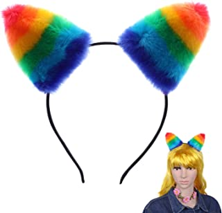 MWOOT Hair Accessories Gay Pride Rainbow Furry Cat Ear Headband for Women Girls Daily Wearing and Party Decoration