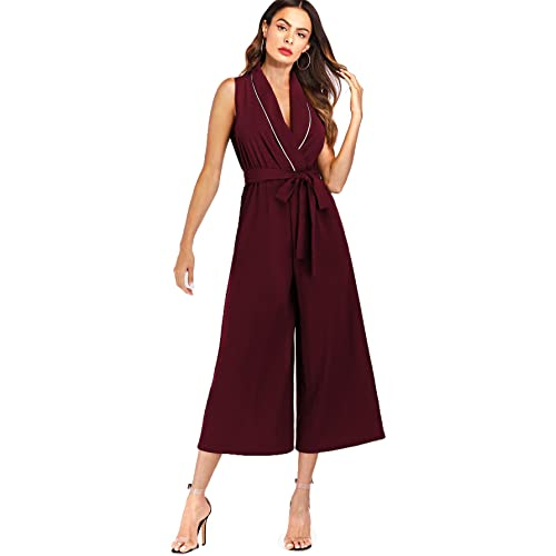 2f0145ce3eff Verdusa Women s Sleeveless Belted Waist Wrap V Neck Culottes Jumpsuit