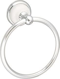 Franklin Brass Bathroom Accessories 126882 Bellini Hand Towel Ring, Polished Chrome & White
