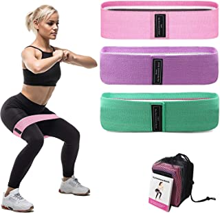 Domejo Booty Bands, Non Slip Resistance Bands for Legs and Butt, Workout Bands Exercise Bands Glute Bands for Women, 3 Pack