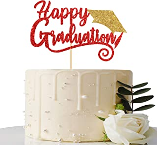Red & Gold Glitter Happy Graduation Cake Topper - Class of 2021 / Grad Party Supplies - 2021 Graduation Party Decorations