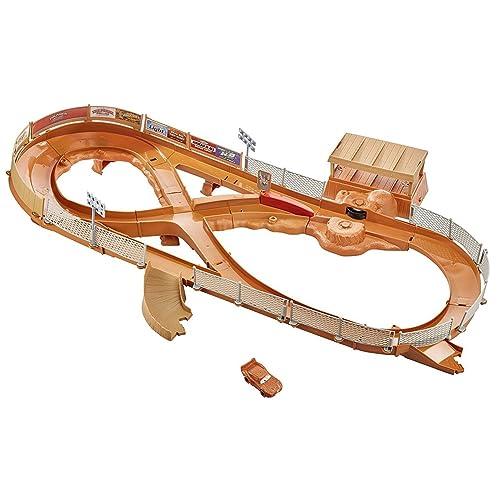 Disney Pixar Cars Coffret Circuit Thunder Hollow avec Booster et véhicule Flash McQueen couvert de boue inclus, jouet pour enfant, FCW01