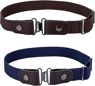 Women No Buckle Invisible Belts - 2 PCS Adjustabe Stretch Belt for Jeans Pants