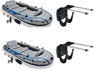 Intex Composite Boat Motor Mount Kit (2 Pack) & Excursion Boat Set (2 Pack)