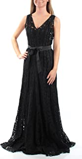 2419 Calvin Klein Womens Black Floral Lace Belted V-Neck Long Gown Dress 2 $299