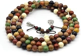 Zen Dear Unisex Natural Colorful Wood Buddhist Prayer Beads Bracelet Necklace Tibetan Mala Prayer Beads