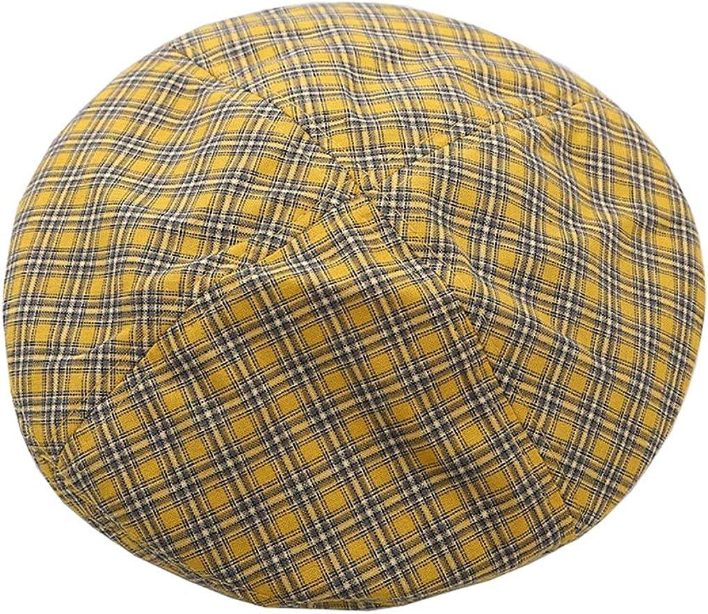 Cotton Vintage Plaid French-Beret Hat Painter-Beanie for Women