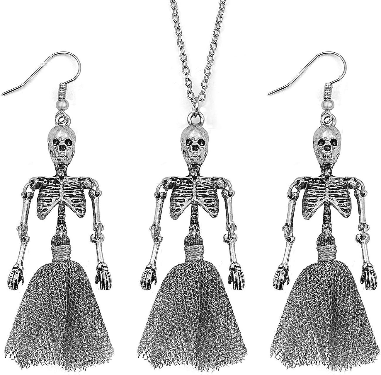 Gleamart Halloween Skeleton Necklace Earrings Set for Women
