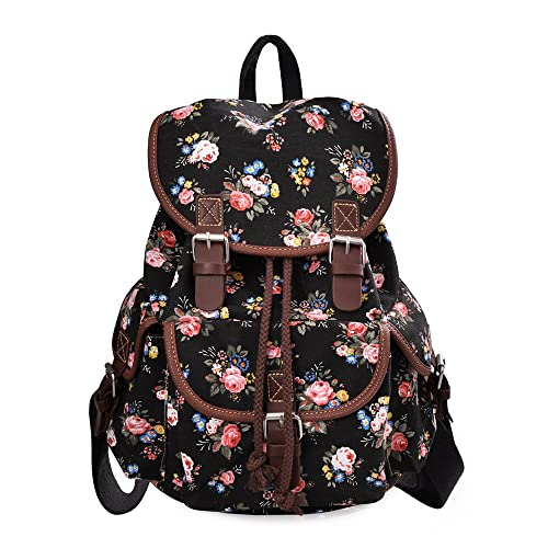 32b9460d666 Douguyan Lightweight Backpack for Teen Young Girls Cute Backpack Print  Rucksack Black 163