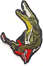 Funny Crocodile Rock and Roll Red Guitar Punk Rock Patches Appliques Fabric Decorating for Hat Cap Polo Backpack Clothing Jacket T-Shirt DIY Embroidered Iron On/Sew On Patch