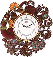 Circadian Ajanta Wall Clock for Home Living Room Office Wooden(Multi Color Peacock) (15 IN*13 IN)