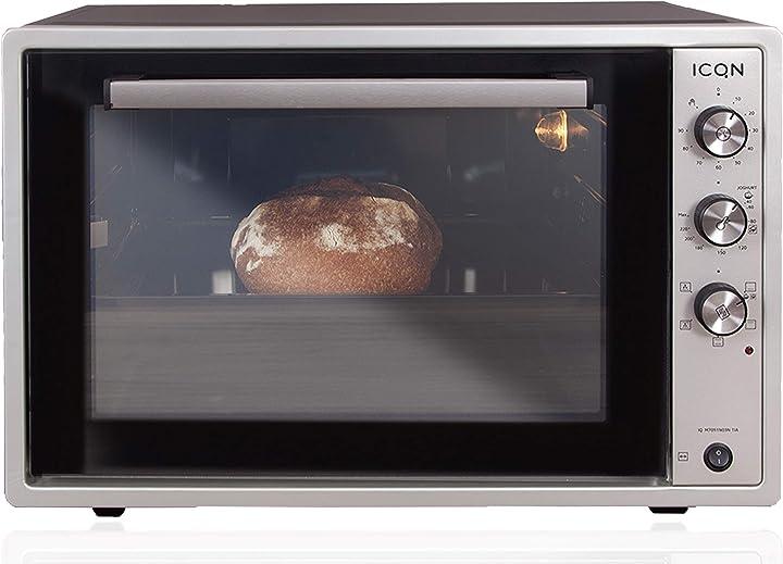 Forno per pizza ventilato icqn 60 litri doppio vetro funzione timer temperatura da 40° fino a 230° 1800 w IQ M7051N03N 1IA