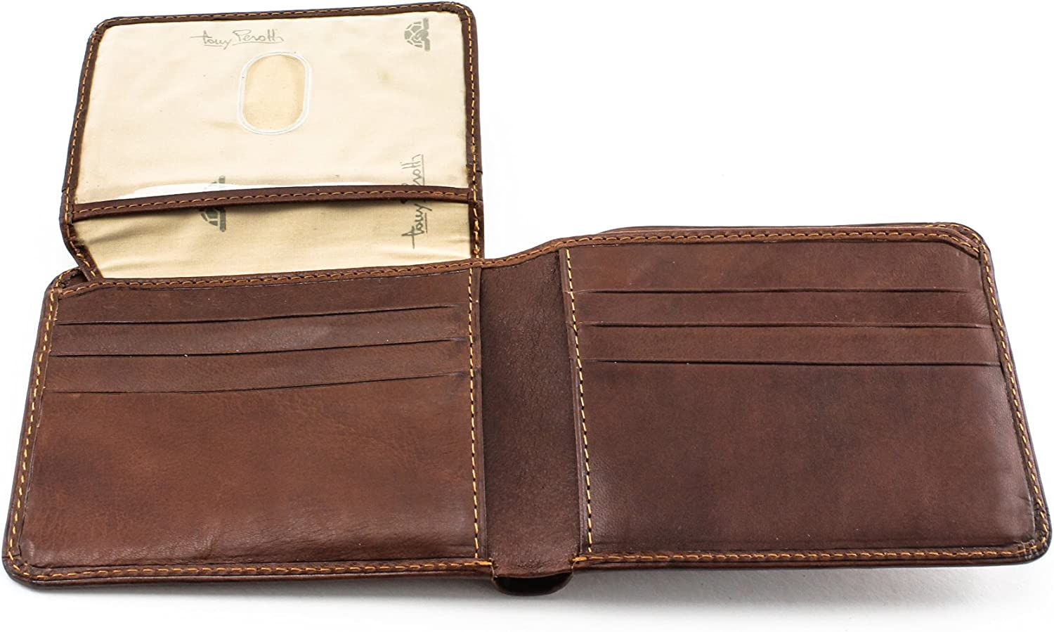 Tony Perotti Mens Italian Cow Leather Classic Bifold Wallet with ID Window Flap in Brown (Cognac, Non-Personalized)