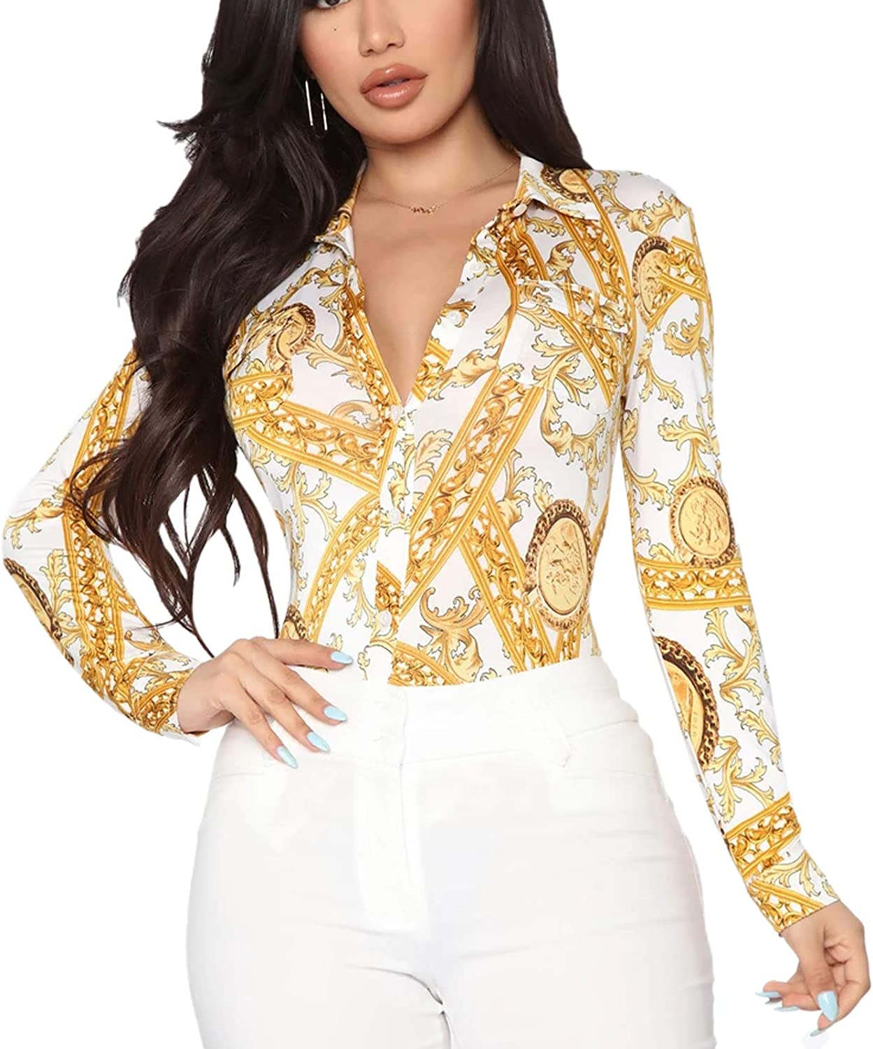 Women's Sexy Floral Blouses Casual V Neck Long Sleeve Collar T-Shirt Button Down Tops Mini Dress