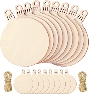 Favide 50 Pieces Wooden Christmas Cutouts Wood Slice Xmas Embellishments Hanging Ornaments with Ropes for Christmas Decoration, DIY Wood Crafts, Festival, Wedding (50)