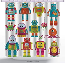MyCCIC Polyester Shower Curtain/Outer Space, Robot Drawing with Cartoon Future Toys with Smiling Faces Aliens Fun Games, Teal Red/Bathroom Accessories Shower Curtain Set