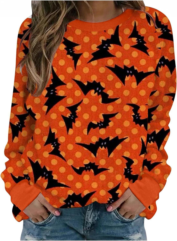 AIHOU Halloween Shirts for Women Long Sleeve Crewneck Sweatshirts Pumpkin Face Print Womens Sweatshirts Pullover Casual Tops