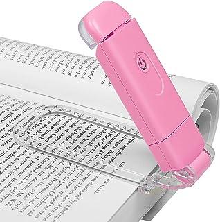 DEWENWILS Lámpara de lectura con pinza para libro, recargable, 4 niveles de brillo ajustables, color ámbar, para leer en la cama, bloqueo de luz azul, regalo para niños y lombrices