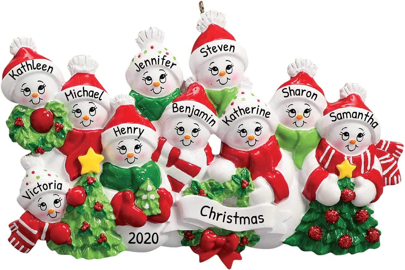 Personalized Snow Family of 10 Christmas Tree Ornament 2020 - Mother Father Child Friend Winter Glitter Wreath Ribbon Red Hug Kid Activity Tradition Gift Year - Free Customization (Ten)