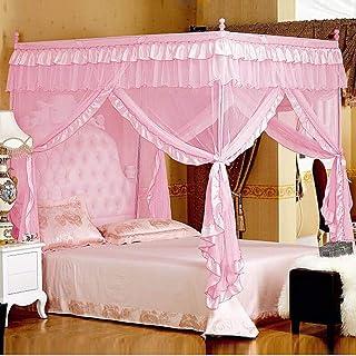 Mengersi Princess 4 Corners Post Bed Curtain Canopy Mosquito Net (Pink, Full)