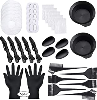47 Pieces Dying Hair Bleaching Tools Salon Dye Kit Hair Tinting Bowl, Dye Brush, Ear Cover, Bleaching Gloves for Salon Hair Dye Tools Hair Coloring Bleaching Hair Dryers