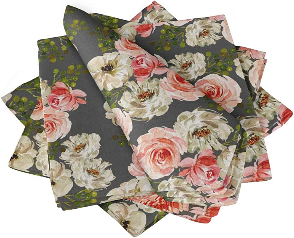 S4Sassy Gray Ranunculus With Bunch Floral Printed Napkin Basic Everyday Use Table Linen Dinning Set 20 X 20 Pack Of 6
