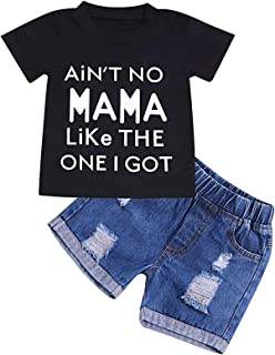 Baby Boy Girl Letter Clothes Summer Short Sleeve Tops Denim Pants Shredded Jeans Outfit